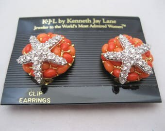 Kenneth Jay Lane KJL Orange and Silver Coral Starfish Clip Earrings