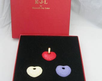 Kenneth Jay Lane KJL Multi-Colored Heart Pendants