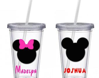 Disney tumbler, Disney 16 oz Tumbler, Personalized tumbler Mickey Mouse Tumbler, Minnie Mouse Tumbler, Kids Disney drink cup