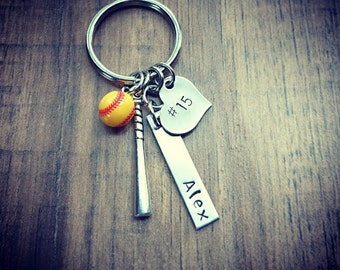 Hand Stamped Personalized Softball Keychain -  x4 KEYCHAINS - Extra Bar