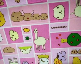 Kapibarasan Character Fabric, Japanese Ox Cotton - 1.5 meter