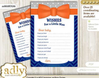 Boy Bow Tie Wishes for a Baby Shower, Well Wishes Orange Blue Baby Bow Tie Shower DIY Grey -aa86bBOG6