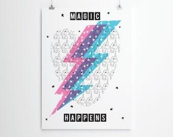 Unicorn Print, Magic Happens