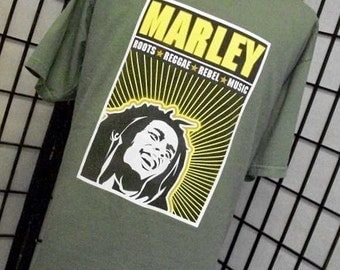 Vintage Bob Marley Roots Reggae Rebel Music green tee shirt 1x xl