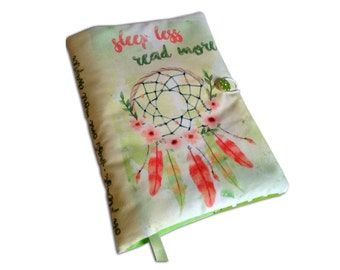 Book Cover Handmade, Sleep less read more, dreamcatcher book cover, Notebook Cover, book lovers, UK Seller, Accessories, Fabric book cover