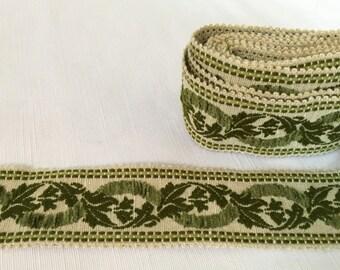 "Beautiful Vintage Green Braid, 2.25"" Wide, 4 Mtrs"