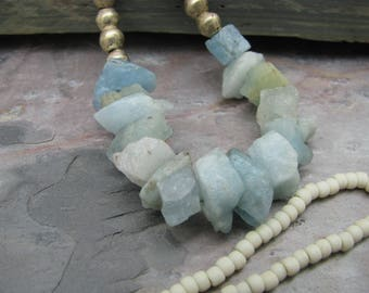 Long aquamarine necklace, raw nugget stone necklace, natural earthy jewelry, rough cut aquamarine, luxe boho, boho babe, festival layering