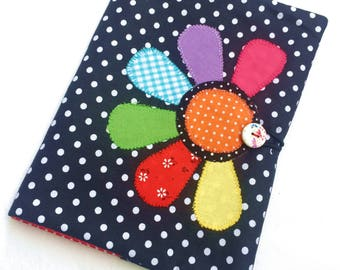 Flower applique book cover Fabric book cover Fabric notebook cover A5 Notebook cover Notebook diary cover Paperback cover Black & white dots