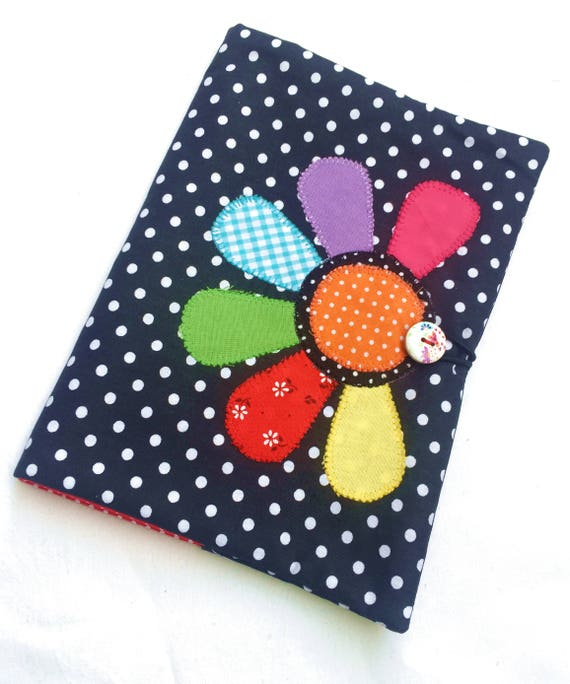 Fabric Book Covers Jumbo : Flower applique book cover fabric notebook