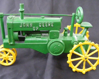 "John Deere Model GP (General Purpose) 1928 ""Row Crop"" Two Wheel Tricycle-front Plowing Farm Tractor 12"" 5lbs. Cast Iron Push Toy Replica"