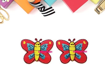 Set 2pcs. Red Little Butterfly Cute Baby Patches Sew / Iron On Patch Embroidered Applique Size 3.8cm.x3cm.