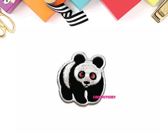 Panda - Animal Print Sew / Iron On Patch Embroidered Applique Size 5.4cm.x5.9cm.