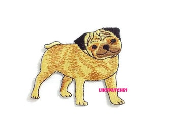 Dog Iron On Patch Pug Dog Patches Smiley Face New Sew on / Iron On Patches Embroidered Patch Iron On Appliques Cute Patches 7.8cm.x6.6cm.