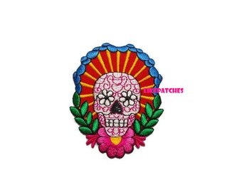 Flower Sugar Skull New Sew / Iron On Patch Embroidered Applique Size 6cm.x7.7cm.
