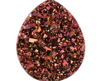 Copper Pink Drusy Quartz Loose Gemstone Pear Cabochon 1A Quality 12x10mm TGW 2.40 cts.