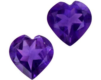 African Amethyst Heart Cut Set of 2 Loose Gemstones 1A Quality 7mm TGW 2.00 cts.