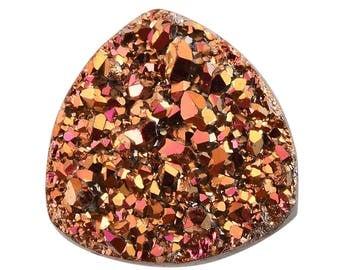 Copper Pink Drusy Quartz Loose Gemstone Trillion Cabochon 1A Quality 8mm TGW 1.15 cts.