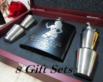 Set of 8 Personalized Groomsmen Gift Flask Box Set // Flask, Funnel, and Shot Glasses / Will You Be My Best Man Invitation Box // FAST SHIP