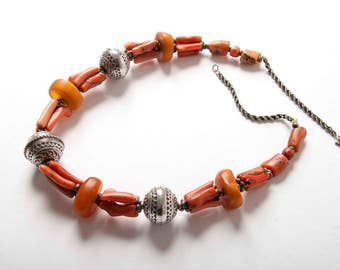 Coral amber and silver Berber necklace Moroccan jewellery