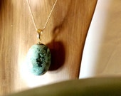 Large Turquoise Pendant Wrapped Beads Bail Dangle Keychain Necklace Blue Gold Gemstone Finding
