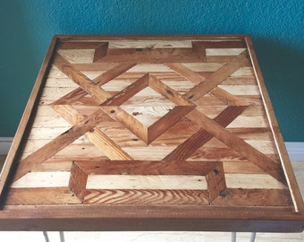 1920s reclaimed lath wood end table -  living room decor Art Deco nightstand w/ hairpin legs rustic