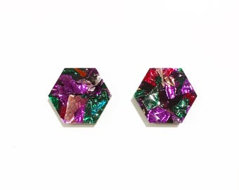 Large hexagon earrings studs lasercut rainbow glitter