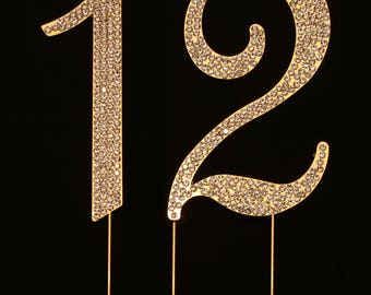 Number 12 for 12th Birthday or Anniversary Cake Topper Party Decoration Supplies, 4.5 Inches Tall