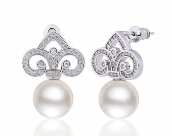 Pearl bridal earrings, crystal bridal earrings, pearl wedding earrings, luxury bridal jewelry