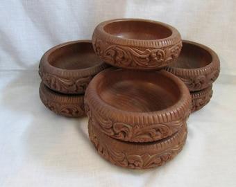 Vintage Salad/Snack Wooden Handcrafted Bowls