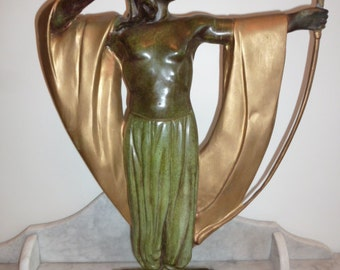 Large French Art Deco Period cold painted bronze sculpture of an archer circa 1930