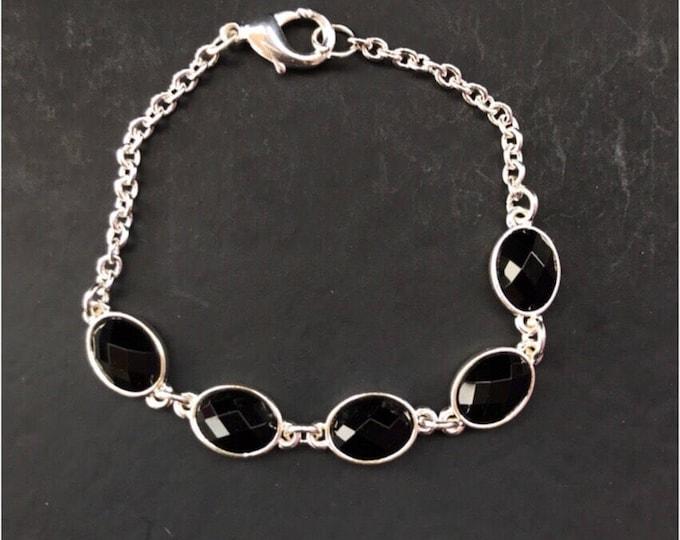 Black silver bracelet - Black Bracelet - Silver chain black Bracelet - Black jeweley - unique blck bracelet