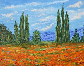 Fine Art, Poppy Field, Original Painting, wall art, Monet Inspired, poppy field,  canvas art, modern painting, landscape art