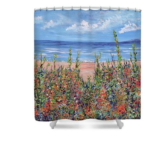 Shower curtainssummer beach bathroom curtains sandy beach for Summer bathroom decor