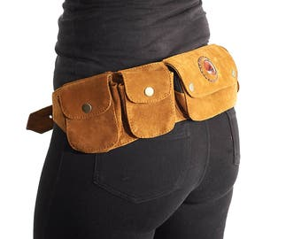 Pocket Hip Belt,Travel Money Purse,Utility Leather Belt,Festival Belt,Burning Man,Fanny Pack,Pocket Belt iPhone 7+/Samsung s7h,Bum belt.Gift