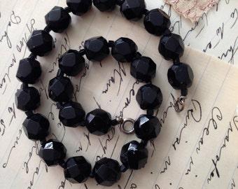 Vintage 1930's Black Czech Glass Beaded Choker Necklace