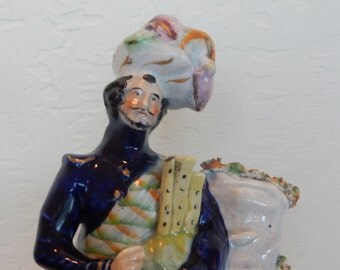 Antique Large Staffordshire Figurine of Scottish Highlander, England, 1850-1899