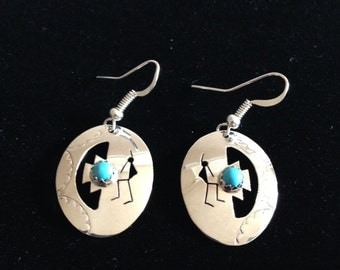 Native American Earrings   / Sterling Silver / Turquoise / Indian Jewelry / Navajo jewelry