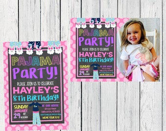 Pajama Slumber Party Personalized birthday invitation- ***Digital File***(pj-pnkpolka)
