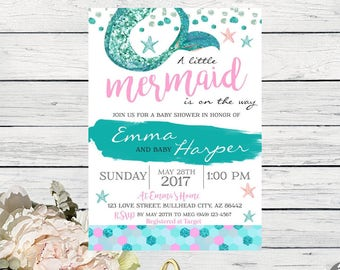 Mermaid Baby Shower Invite***Digital File***  (Baby-mermaidwtrbrushPNK)