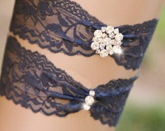 Lace Rhinestone Garter Set, Something Blue Bridal Garter, Gold Garter, Navy Blue Garter, Customizable Garter, Bling Garter- EDEN GARTER SET