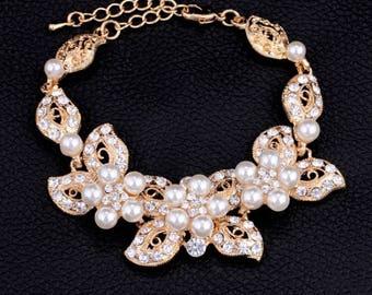 GOLD crystal and pearl bracelet/cuff, bride cuff, ivory pearl bracelet crystal bracelet ivory pearl cuff rhinestone cuff wedding jewelry
