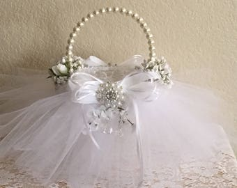 Flower Girl Basket, White On White, Elegant Vintage Style Flower Girl Basket, Pearls,Tulle. Lace, Crystal, Babys Breath, Rose Buds, Ribbons
