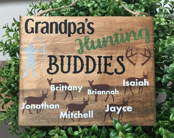 grandpas hunting buddies sign 8x10 wall hanging gift for grandpa cabin lodge - Lodge Decor