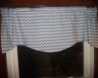 Light Baby Blue Chevron Zig Zag Stripes bedroom fabric curtain topper Valance