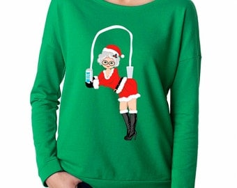 Mrs Claus Ugly Christmas Sweater, 3/4 Sleeve Shirt, Break The Internet, Christmas, Ugly Christmas Sweater, Womens, Wideneck, Loose Fitting