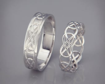 14k white gold celtic knot wedding rings set handmade 14k white gold celtic wedding rings - Celtic Wedding Ring Sets