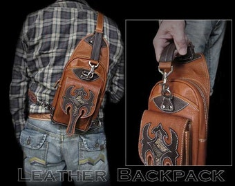 Tan Leather Backpack K05D25
