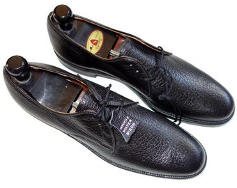 Vintage Exotic Dacks Biltrite Water Bison Leather Black Mens Dress Shoes 12.5 AA NEW Old Stock