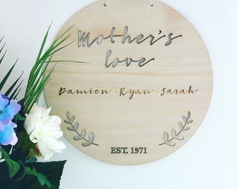 Personalised Mother's Day plaque, Gift for Mum, Gift for Nan, Wooden name plaque, personalised family plaque, name sign, sign, home decor