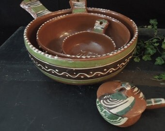 Terracotta Pottery Nesting Bowl Set -  Mexican Hand Painted Clay Cazuelas - Decorative Pots